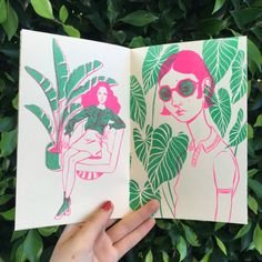 Just a zine about girls and plants! 5 x 8 12 pages cream paper risograph printed in neon pink and green by Tiny Splendor in Los Angeles, CA edition of 75