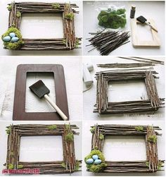 For individuals who need to make a body from dry tree branches, this re . Twig Crafts, Driftwood Crafts, Frame Crafts, Diy Home Crafts, Nature Crafts, Diy Frame, Garden Crafts, Creative Crafts, Crafts For Kids