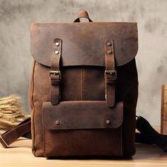 4dbc2a7f4dea Handmade Vintage Leather School Bag Travel Backpack Laptop Bag Black M –  icambag Travel Backpack