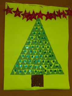Avet amb gomets také tisk Christmas Art Projects, Christmas Crafts For Kids, Noel Christmas, Winter Fun, Xmas Cards, Triangles, Art For Kids, Kindergarten, Projects To Try