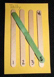 Interesting way to show students how to make tally marks. I glued the sticks to tag board and hung this mini-poster on my white board.