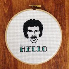 "Lionel Richie Hello 5"" Cross Stitch by houseofmiranda on Etsy"