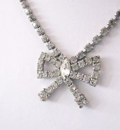 Vintage Rhinestone Bow Choker Necklace by LovesVintageDelights, $20.00