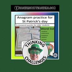 Anagrams for St Patrick's Day. Fast Finishers, Higher Order Thinking, Thematic Units, Critical Thinking Skills, Upper Elementary, Literacy Centers, Teacher Resources, St Patrick, Middle School