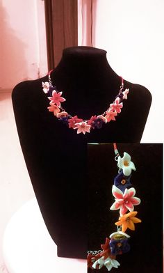 "Flowery hand-made necklace ""Summer Dream""."