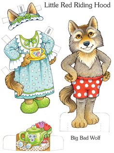 Little Red Riding Hood Paper Dolls sample pages: My Storybook Paper Dolls @ Dover Publications Big Bad Wolf, Red Riding Hood Party, Paper Art, Paper Crafts, Marionette, Paper Dolls Printable, Paper Animals, Vintage Paper Dolls, Paper Toys