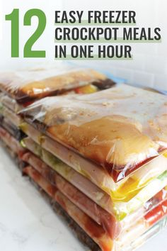 Meal prepping is a life saver for busy families! Here's how I made 12 easy freezer crockpot meals in under 60 minutes! Meal prepping is a life saver for busy families! Here's how I made 12 easy freezer crockpot meals in under 60 minutes! Budget Freezer Meals, Slow Cooker Freezer Meals, Make Ahead Freezer Meals, Crock Pot Freezer, Freezer Cooking, Easy Cooking, Crockpot Recipes, Frugal Meals, Freezer Recipes