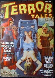 Terror Tales 1939, girl woman dame prisoner captive hostage tied bound chained chains torture wheel dungeon priest red robe danger foreign exotic