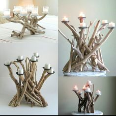 Driftwood Seven Candle Candelabra with Votive Plates Table Centerpiece Table Decor Beach Decor Driftwood Art Driftwood Decor Driftwood Decoration Table, Table Centerpieces, Candelabra Centerpiece, Diy Candles At Home, Diy Bedroom Decor, Diy Home Decor, Driftwood Candle Holders, House Pillars, Driftwood Crafts