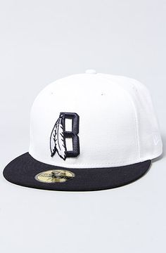 715543e99ff41 Black Scale The Feather B New Era Cap in White Flat brim fitted New Era  hat  By BLVCK SCVLE