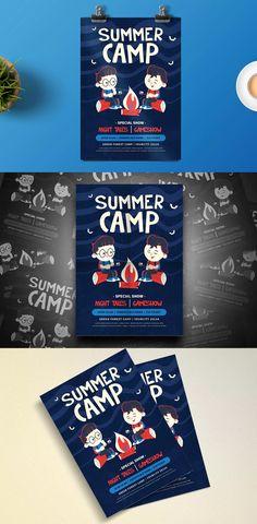 Summer Camp Flyer Template AI, PSD