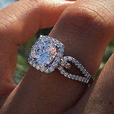 Simon G. 18K White Gold Split Shank Cushion Halo Diamond Engagement Ring