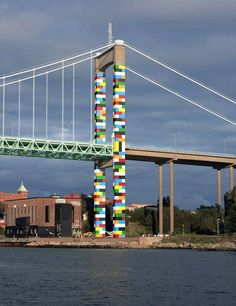 lego bridge by christo guelov adorns gothenburg city in sweden - Romana Avila 3d Street Art, Amazing Street Art, Street Art Graffiti, Street Artists, Lego Bridge, Urbane Kunst, Gothenburg Sweden, Bridge Design, Outdoor Art