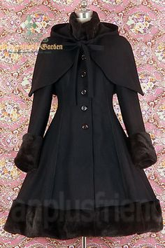Fanplusfriend Classic Gothic Lolita: Heavy Wool & Fur Coat with Hood Cape. This site has great styles!