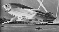 """Frank Tinsley drew this image for the 1957 book """"Airships in the Atomic Age"""""""