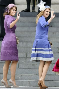 Princess Eugenie and Beatrice opted for regal shades of lavender and plum for the thanksgiving service - they look very classy!