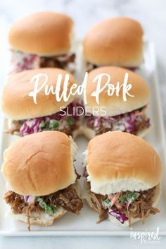 Pulled Pork Sliders - a delicious appetizer or yummy main course with yummy red cabbage salad topping. Slider Recipes, Pork Recipes, Cooking Recipes, Burger Recipes, Coleslaw Recipes, Sausage Recipes, Yummy Appetizers, Appetizer Recipes, All You Need Is