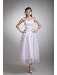 Organza and Satin Sweetheart Tea-Length Sheath Embroidered Wedding Dress