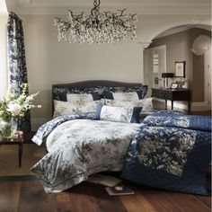 NEW luxury bedding from Dorma - Birds of Paradise bedding set. Gorgeous cream and royal blue, with intricate detailing - available now at www.victorialinen.co.uk