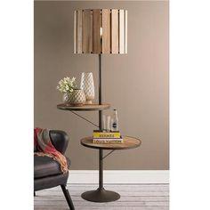 Rustic Double Shelf Floor Lamp
