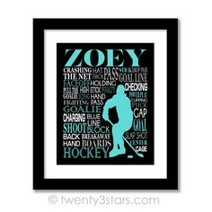 Women's Hockey Typography Wall Art - Choose Any Colors - twenty3stars