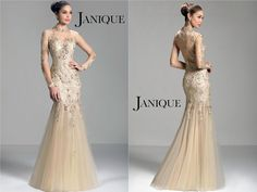Trumpet High Neck Janique Evening Dresses Lace Appliques Beading Floor Length Tulle Zipper Hollow Long Sleeve Formal Prom Pagent Gowns W321