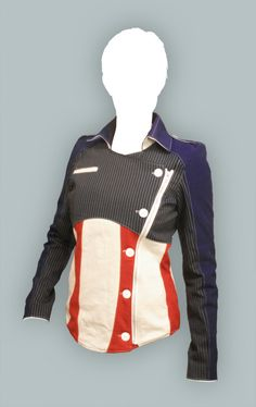 Captain America jacket.  The jacket is fully lined, made to measurement, and has three pockets—1 inside, 2 outside.