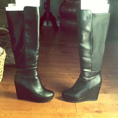Tall Black Leather Wedge Boots Great winter wedge boots! Great condition and only worn once! Shoes Heeled Boots