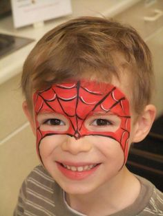 Spiderman Face Paint. Cool Face Painting Ideas For Kids, which transform the faces of little ones without requiring professional quality painting skills. http://hative.com/cool-face-painting-ideas-for-kids/