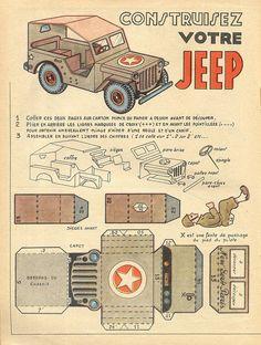printable vintage Jeep pages) Paper Model Car, Paper Car, Paper Plane, Diy Paper, Cardboard Toys, Paper Toys, Imprimibles Toy Story, Free Paper Models, 3d Cnc