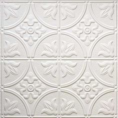 Dimensions (Common: x Actual: x White Metal/Tin Surface-Mount Tile Ceiling Tiles at Lowe's. Dimensions thermoformed panels replicate the look of tin tiles. Our 2 ft. x 4 ft. faux tin panels are available in this solid colored styrene which you Plastic Ceiling Tiles, Faux Tin Ceiling Tiles, Tin Tiles, Wall Tiles, Acoustic Ceiling Tiles, Ceiling Grid, Ceiling Panels, Mold In Bathroom, Seaside Bathroom