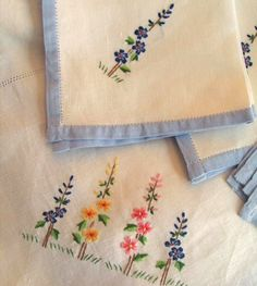 Embroidered Linen Tablecloth and Napkin Set by marypearlsvintage, $74.00