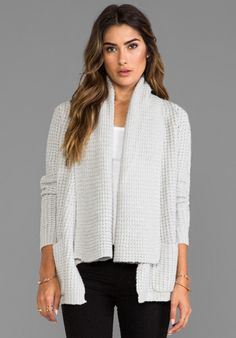AUTUMN CASHMERE Textured Drape Cardigan with Pockets in Frost - Autumn Cashmere
