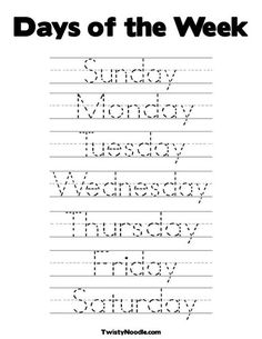 Days of the Week Coloring Page from TwistyNoodle.com