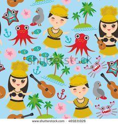Hawaiian Hula Dancer Kawaii boy girl seamless pattern, set of Hawaii symbols with a guitar ukulele flowers parrot fish crab octopus anchor flower sea ocean palm trees on blue background. Vector