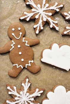 gingerbread cookies...make snowflakes with chocolate gingerbread recipe.