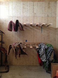 Saddle pad rack in my tack room