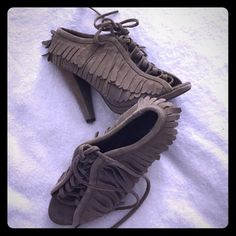 Taupe Siren Fringe suede Bootie Heels Super cute casual heels, worn once w/ only visible sign being on the bottoms Siren Shoes Ankle Boots & Booties