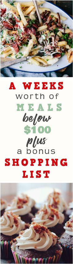 A weeks worth of meals below $100 + a bonus SHOPPING LIST - Meal plan | Budget Meal Plan | Cheap Meals | Money Saving Meal Plan| Budget Meals | Sample Weeky Menu | Frugal Living | Frugal Eats