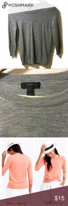 J.CREW Grey Merino Wool Tippi Sweater size S Goes with almost everything. Soft, flattering, layers well. Semi fitted. Hits at hip. 3/4 sleeves. Rib trim at neck, cuffs, and hem. See reviews at Jcrew.com item #46725. No trades. Open to offers J. Crew Sweaters Crew & Scoop Necks