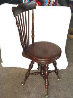 Pre-1800 Flight Tracker Antique Vintage Regency Mahogany Round Piano Dressing Table Stool Seat Benches & Stools