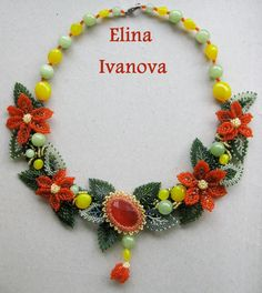 Necklace made of many small elements (leaves, flowers) are connected together. In the center is a cat eye stone. Necklace made of quality Czech seed beads Preciosa, and Japanese TOHO seed beads, glass beads, nephritis beads, cabochon cat eye stone . Necklace length 44cm I can