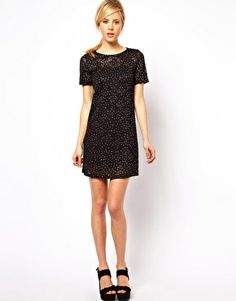 Image 4 ofASOS Sparkle Shift Dress In Lace