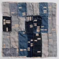 """Atlanta Foreclosure Quilt, 2011. 19 1/2"""" x 19 1/2"""" Recycled denim, bleached linen, yarn and embroidery thread. By Kathryn Clark"""