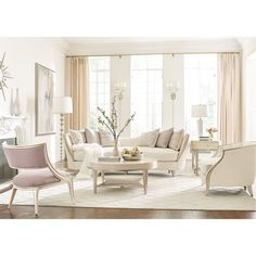 (1) Caracole, Adela, Chair, Chairs & Ottomans, Blush Taupe, Birch – Benjamin Rugs & Furniture
