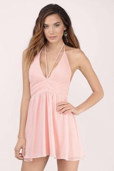 Strappy, plunging neckline skater dress with textured upper contrast. Showcases a strappy V neck detail that ties behind the neck into a halter and se - Fast & Free Shipping For Orders over $50 - Free Returns within 30 days!