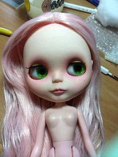 Blythe customized by me pink hair