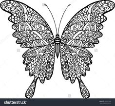Vector doodle abstract outline decorative butterfly illustration