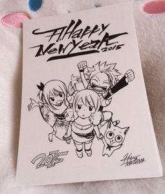 """""""Happy New Year - by Hiro Mashima Fairy Tail Drawing, Fairy Tail Art, Fairy Tail Love, Fairy Tail Guild, Fairy Tail Anime, Fairy Tales, Otaku, Fairy Tail Photos, Rave Master"""