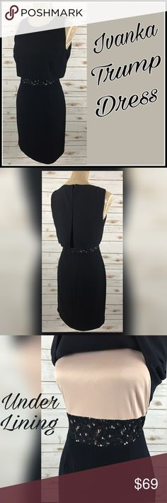 "Ivanka Trump Dress This dress is fully lined with - beautiful lace mid section and back. Worn once in like new condition.   📐Measurements & Information 📐  Chest Approx 35"" Length approx 37.5"" Zipper back Shell 1 - 100% Polyester  Shell 2 - 68% cotton, 26% Nylon, 6% Rayon Lining 100% polyester Ivanka Trump Dresses Midi"